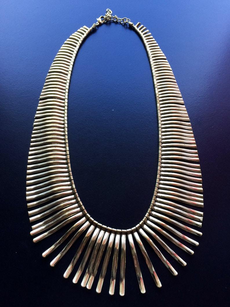 Gold Fringe Necklace,Bib Necklace,Statement Jewelry,Wedding Jewelry,Summer Statement Necklace by Taneesi ZN248G