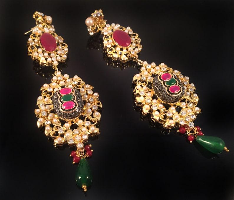 Turkish Ruby emerald gold Victorian Earrings,Chandelier Earrings,Pearl Gold  Jewellery,Indian wedding,Royal ethnic Jewelry Taneesi