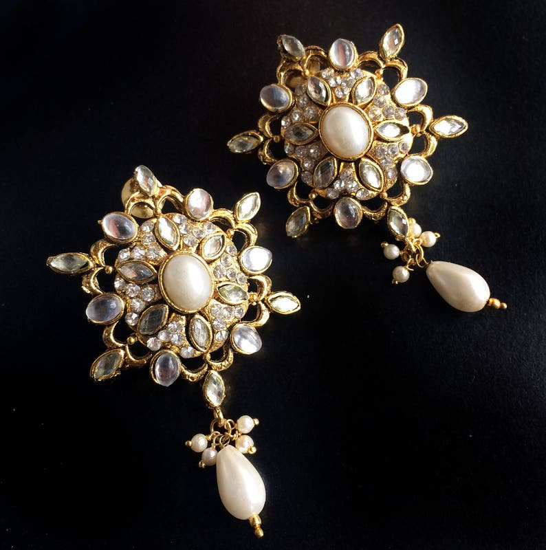 KASHMIRI PEARL Earrings,Wedding jewellery,Indian Bridal crystal Pearl kashmiri Earrings,Exclusive by TANEESI Yp232P