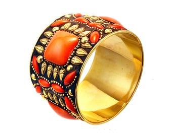 Orange gold  bangle bracelet,wide bangle,tribal Gold Statement jewelry,boho large-stackable bangle bracelet