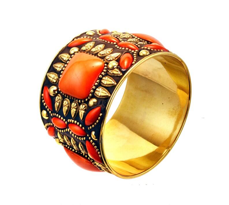 Orange gold  bangle braceletwide bangletribal Gold Statement image 0