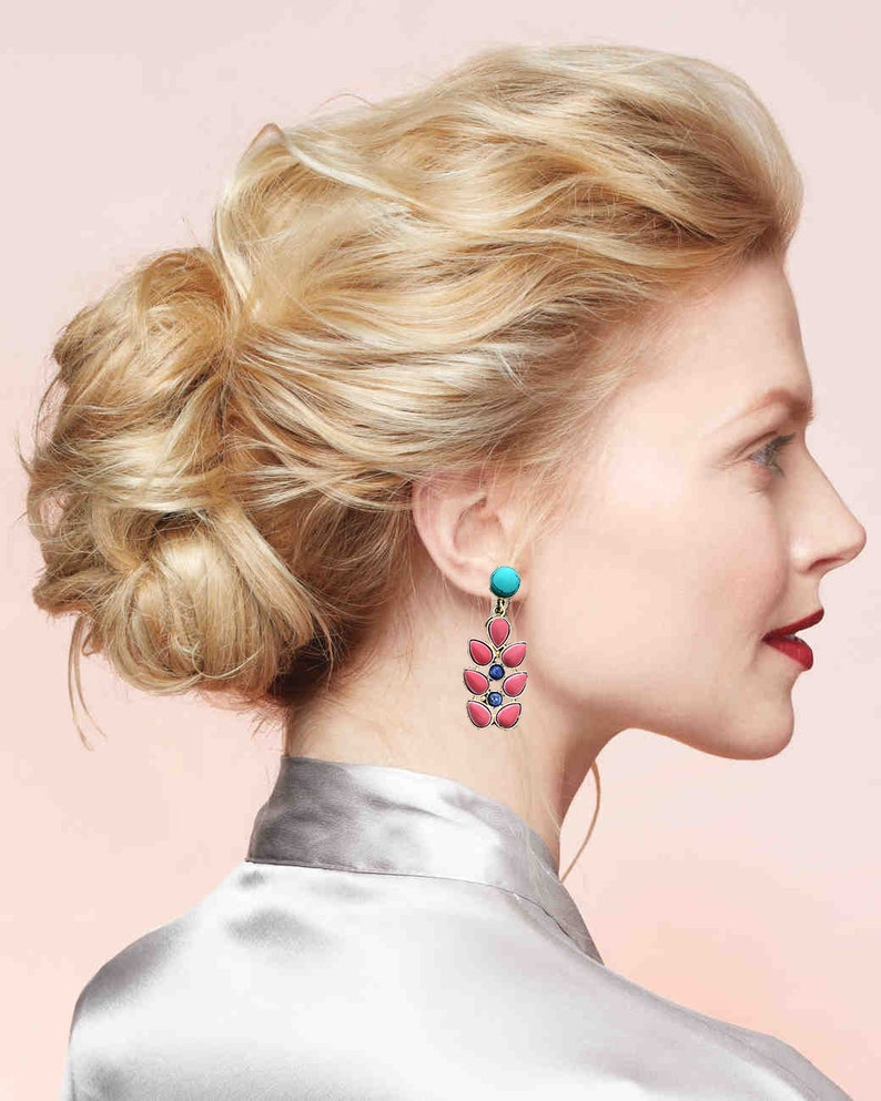 Coral Turquoise Earrings tree earrings-branch earring-Nepal image 0