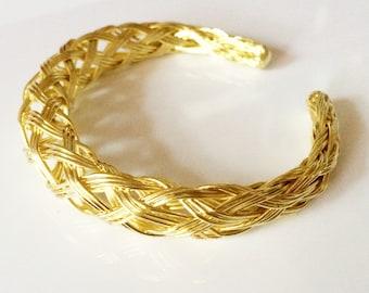 CLEARANCE SALE Gold Cuff Bracelet, Bangle bracelet adjustable ,Womens bracelet ,birthday Gift, Minimalist Modern jewelry Taneesi