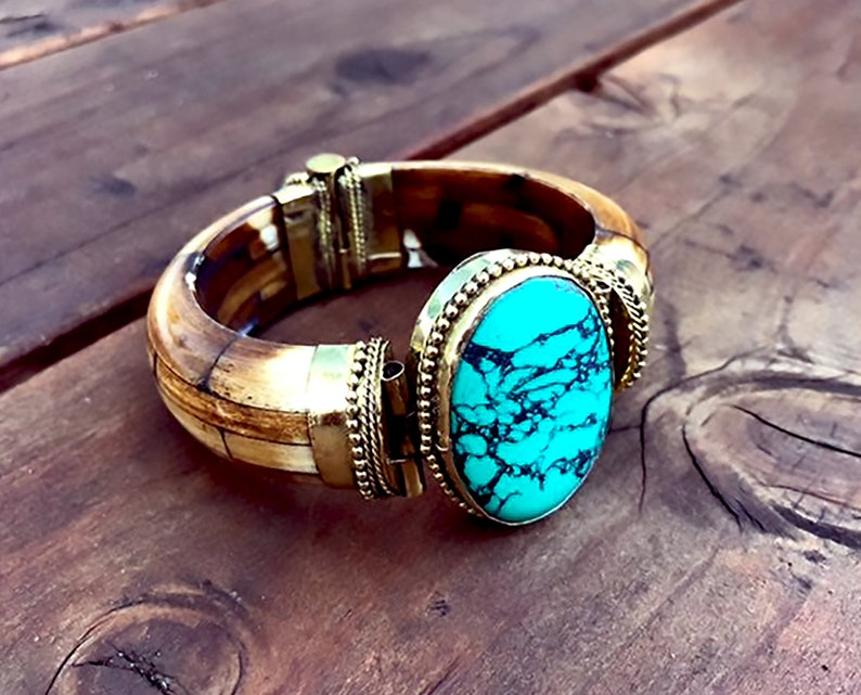 Oval Turquoise Antique Tribal Bracelet,Brass wood Cuff Mosaic STATEMENT Cuff  Afghan ethnic jewelry,Bedouin Gypsy,Bohemian