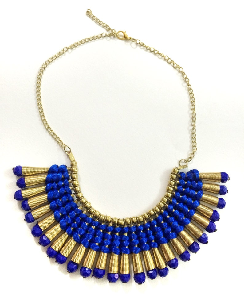 Blue and Gold Bib Necklace,Gold Fringe Necklace,Statement Jewelry,Wedding Jewelry,Fall Statement Necklace by Taneesi