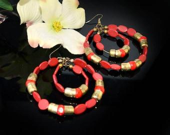 Holiday red &  Gold hoop earrings,coral red hoop earrings,Bohemian jewelry,Large hoops Handmade Earrings,Etsy Jewelry by TANEESI