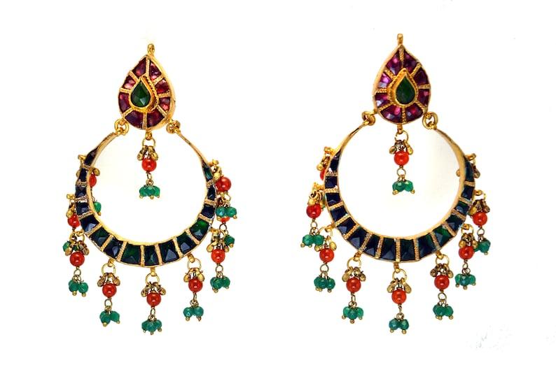 Green Kundan Earrings 22K Gold plated Rhodolite Green & image 0