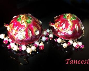 PINK Jhumka earrings,Jaipur Lac Earrings,Hot Pink Gold jhumkas,Dome earrings Crystal Earrings,Vintage Jewelry by Taneesi