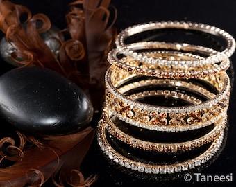 Bangle Bracelets,Vintage 5 Bangle Bracelet Set-crystal bangles-bridal jewelry-wedding bangle-victorian jewelry by Taneesi