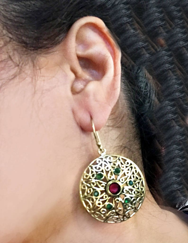 Turkish jewelry-trending earrings-RedGreen and Gold image 0
