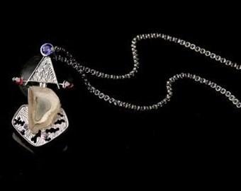 Sterling Silver Pendant Necklace,925 sterling silver,Arizona Quartz Garnet amethyst Pendant ,fine Gemstone Jewelry by Taneesi