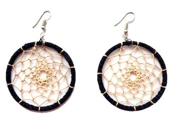 DREAM CATCHER earrings,Black beige earrings-festival jewelry-Boho earrings-Bohemian Gypsy jewelry-leather earrings