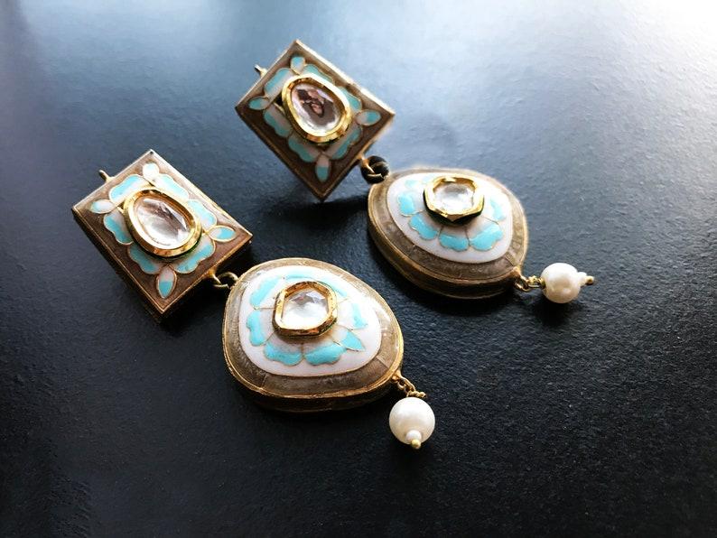 4d196ba9135bd6 Gold Kundan Earrings-Modern Chandelier Earrings-Enameled | Etsy