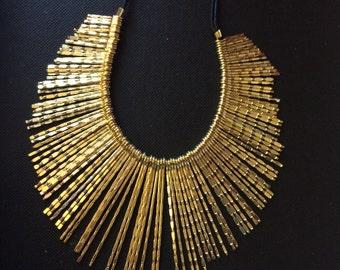 Gold Fringe Necklace,Bib Necklace,Statement Jewelry,Wedding Jewelry,Summer Statement Necklace by Taneesi YN412