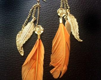 Feather Charm Earrings,Bohemian Earrings,leaf earrings,gold chandelier earrings,Boho Hippie handmade Exclusive by TANEESI