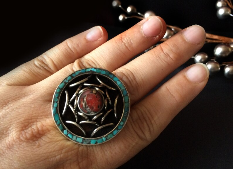 ANTIQUE SILVER Ring-Southwestern Silver ring-Coral Turquoise image 0