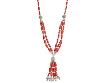 TASSEL Necklace Red Coral Necklace & Earrings Set,NEPAL Jewelry,Beaded Jewelry,tassel necklace,choker,red silver jewelry by TANEESI