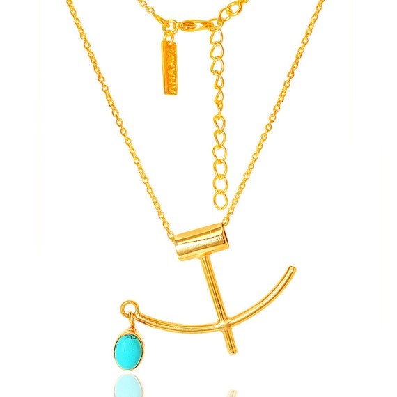 Turkish gold Necklace, Turquoise Gold Necklace,Anchor Necklace- Natural  gemstone jewelry, Minimalist, Modern jewelry by TANEESI