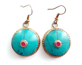Antique Turquoise earrings, Coral Turquoise Earrings, Nepal Jewelry,Gold,Antique Earrings,Tibetan jewelry,Afghan Jewelry by Taneesi