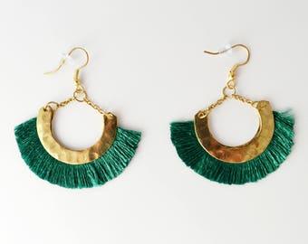 Green Tassel earring- Gold Half moon earrings-Boho tassle earrings- Moon Earrings -Tribal Jewelry Hoop Earrings-fringe earring AE233