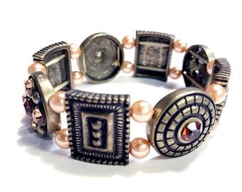 Victorian Bracelet-Stretch Gold crystal Stackable bracelets,Champagne Pearl gold beaded Cuff bracelet-Vintage Bracelet-Gift for mom