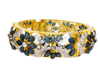 Turkish Gold Bangle Bracelet,Victorian jewelry,Sapphire rhodium plated,Statement Bangle bracelet,Unique art deco,Indian fusion jewelry