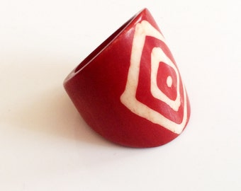 Red  Ring,trendy -US Size 6-African Symbol ring- Vintage Jewelry- trending,Etsy Jewelry by Taneesi