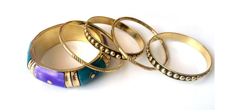 Gold Bangle SetPurple Blue Gold Stacking bangle set Gold image 0