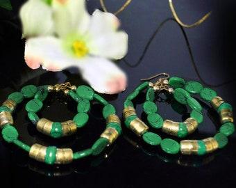 CLEARANCE SALE Green Malachite  earrings, Green Gold hoop earrings, Bohemian jewelry,Large hoops Handmade Earrings,Etsy Jewelry by TANEESI