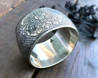 Vintage Etched Silver Bangle Bracelet, hand etched bohemian Jewelry-Maio Bangle- Antique Silver Jewellery by Taneesi