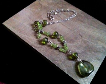 SILVER JEWELRY 925, Green Necklace, Silver Chain Necklace,Sterling Silver Jewelry, Gift for her Taneesi Jewelry