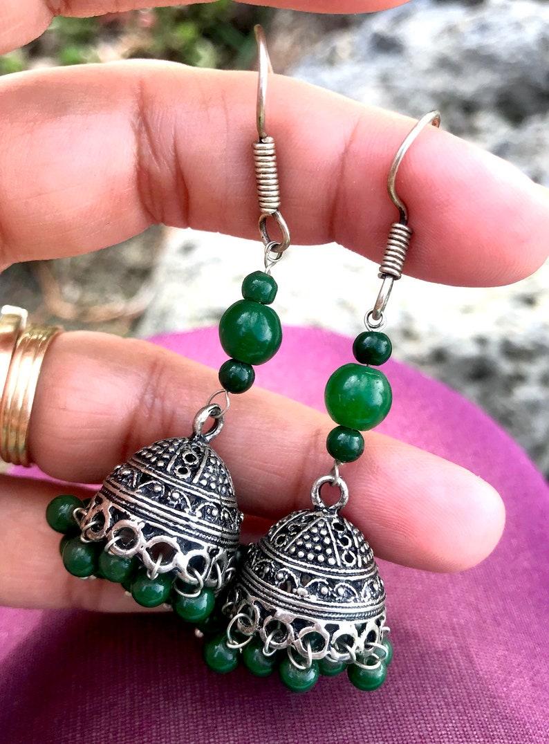 Bell EarringsTribal Green SILVER JhumkasEthnic Bohemian image 0
