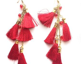 CLEARANCE SALE Red Gold earrings,Red Tassel festival jewelry-fringe earring-Boho earrings-Bohemian Gypsy jewelry-red fringe AE230R