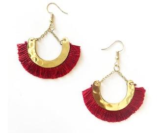 Wine Red Tassel earring- Gold Half moon earrings-Boho tassel earrings- Moon Earrings -Tribal Jewelry Hoop Earrings-silk fringe earring