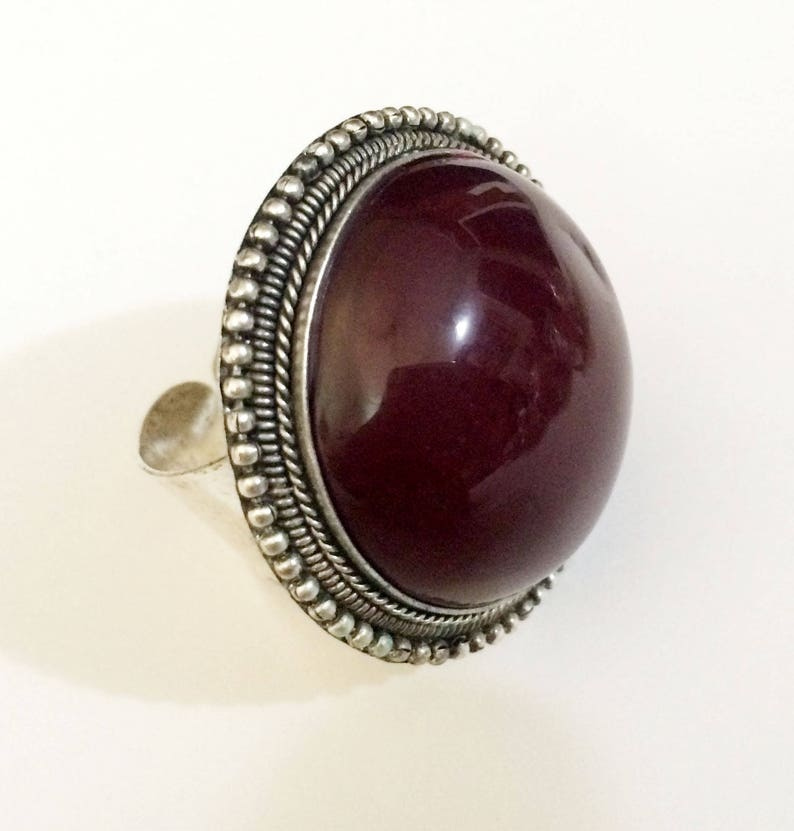 Statement ring,Maroon red ring-Adjustable-Kucchi Silver Ring-Afghan Bold Chunky Ring-Bohemian Jewelry-Gypsy ring by Taneesi