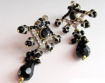 Black gold Earrings,Crystal jewelry, Black & Gold Bridal Earrings,Wedding Jewelry,Bridemaids Gifts,Prom jewelry by Taneesi XE230B