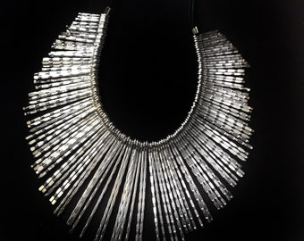 Silver Fringe Necklace,Bib Necklace,Statement Jewelry,Wedding Jewelry,Summer Statement Necklace by Taneesi