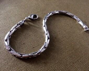 Men's Silver Link Chain Bracelet, Men's Silver chain bracelet, Cuff, Men's Jewelry,Silver bracelet,man bracelet,Modern style Taneesi YBF130