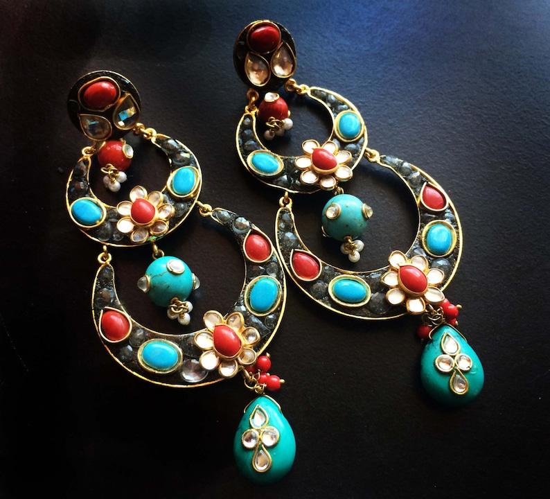 Turquoise Coral Earrings Kundan Jewellery Chandelier image 0