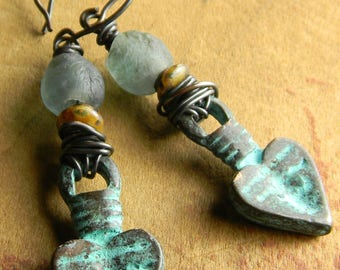 Tribal Jewelry Earrings Heart Verdigris Patina Beaded Recycled Green Glass
