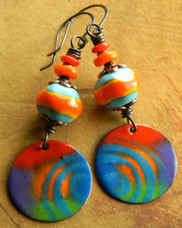 Orange Blue Colorful Copper Enamel Earrings Tribal Jewelry Green Artisan Lampwork Glass