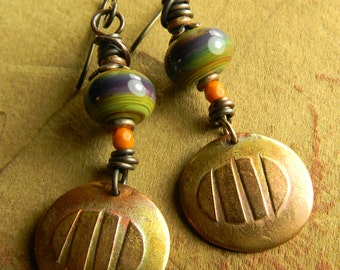 Tribal Jewelry Lampwork Earrings Rustic Green Purple Orange Beaded Copper