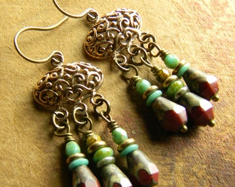 Bronze Chandelier Earrings Bohemian Dark Red Colorful Faceted Picasso Czech Glass