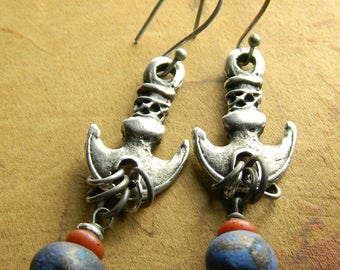 Tribal Jewelry Earrings Indigo Blue Red Pewter Anchor Beaded