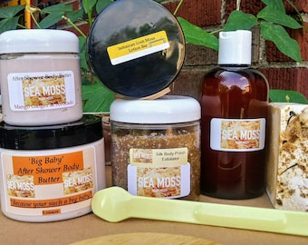 Irish Moss Beauty Spa Treatment 6 piece Gift Box. Includes a Chic Hemp Hobo Shoulder Bag to carry your items with you.