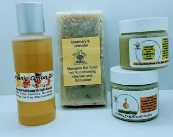 Herbal onion Hair growth shampoo bar conditioning 6 Week treatment trio. Anti hair loss regrowth hair fall control formula.