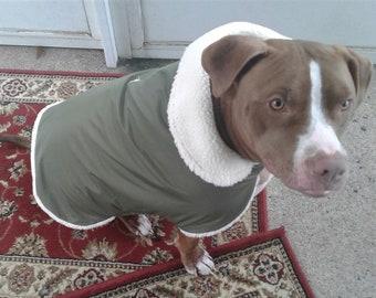 Olive green Waterproof, Thinsulate insulated, breathable, Olive Green, Sherpa Lined  Dog Winter Jacket, Dog Coat, Dog Jackets, Dog Jacket