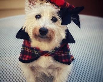 Westie Tartan Beret, Plaid Fleece Doggy Beret, Dog Beret, hats for dogs