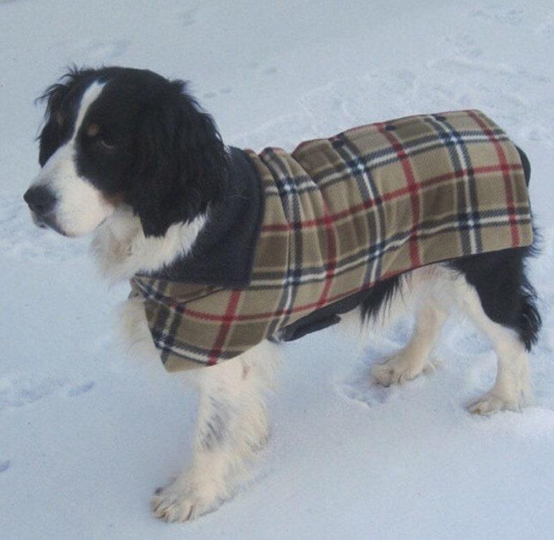 2f0b856531b86 Large Dog Classic British Plaid Button Back Fleece Dog Jacket