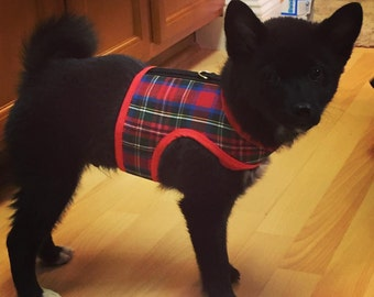 Classic Tartan Plaid Small Dog Harness, dog harnesses, Made in USA